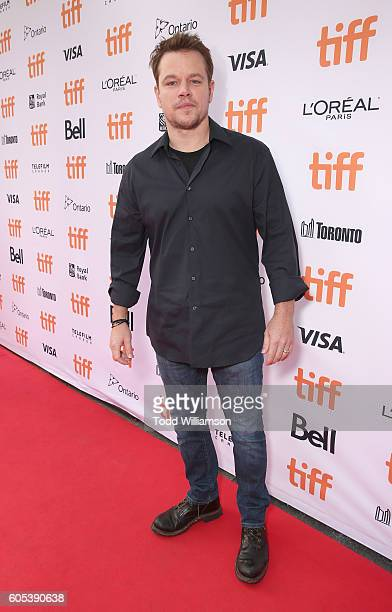 Matt Damon attends Amazon Studios' 'Manchester By The Sea' Toronto International Film Festival Premiere at Princess of Wales Theatre on September 13...