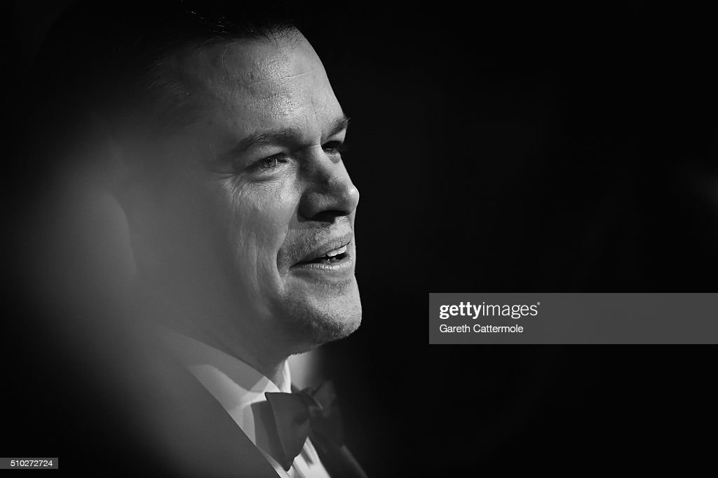 <a gi-track='captionPersonalityLinkClicked' href=/galleries/search?phrase=Matt+Damon&family=editorial&specificpeople=202093 ng-click='$event.stopPropagation()'>Matt Damon</a> attends the EE British Academy Film Awards at the Royal Opera House on February 14, 2016 in London, England.