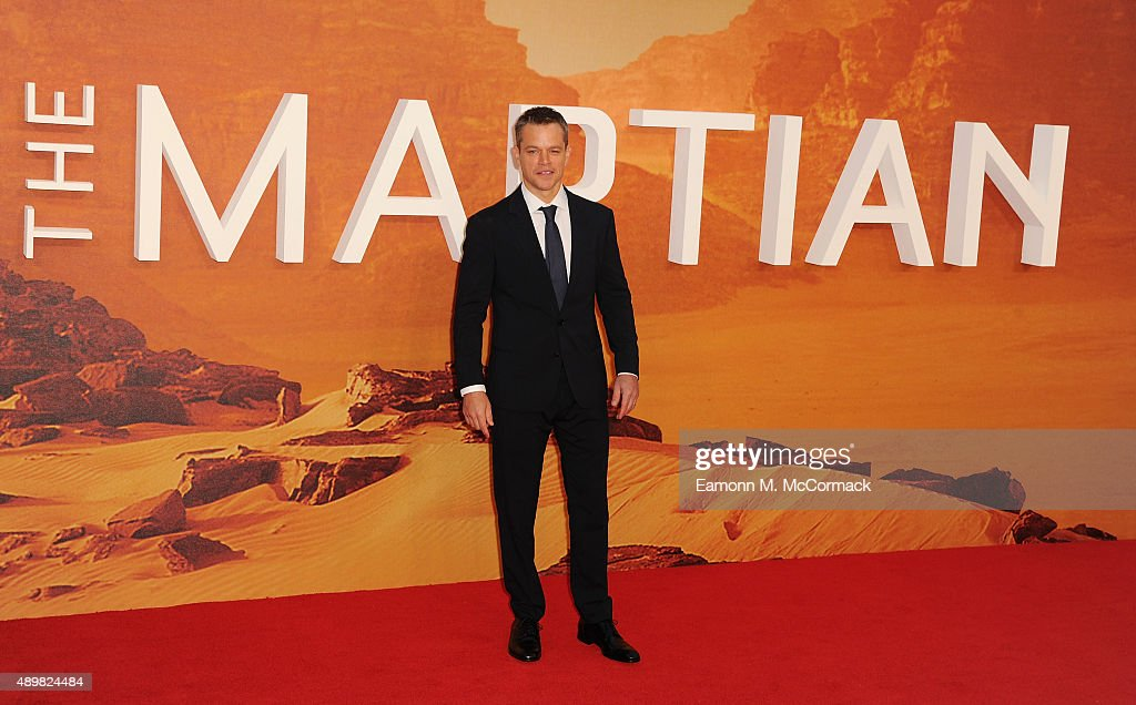 <a gi-track='captionPersonalityLinkClicked' href=/galleries/search?phrase=Matt+Damon&family=editorial&specificpeople=202093 ng-click='$event.stopPropagation()'>Matt Damon</a> attends the European premiere of 'The Martian' at Odeon Leicester Square on September 24, 2015 in London, England.