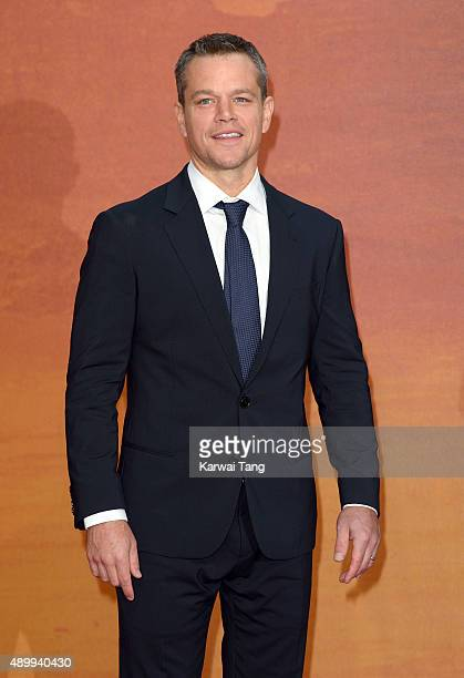 Matt Damon attends the European premiere of 'The Martian' at Odeon Leicester Square on September 24 2015 in London England