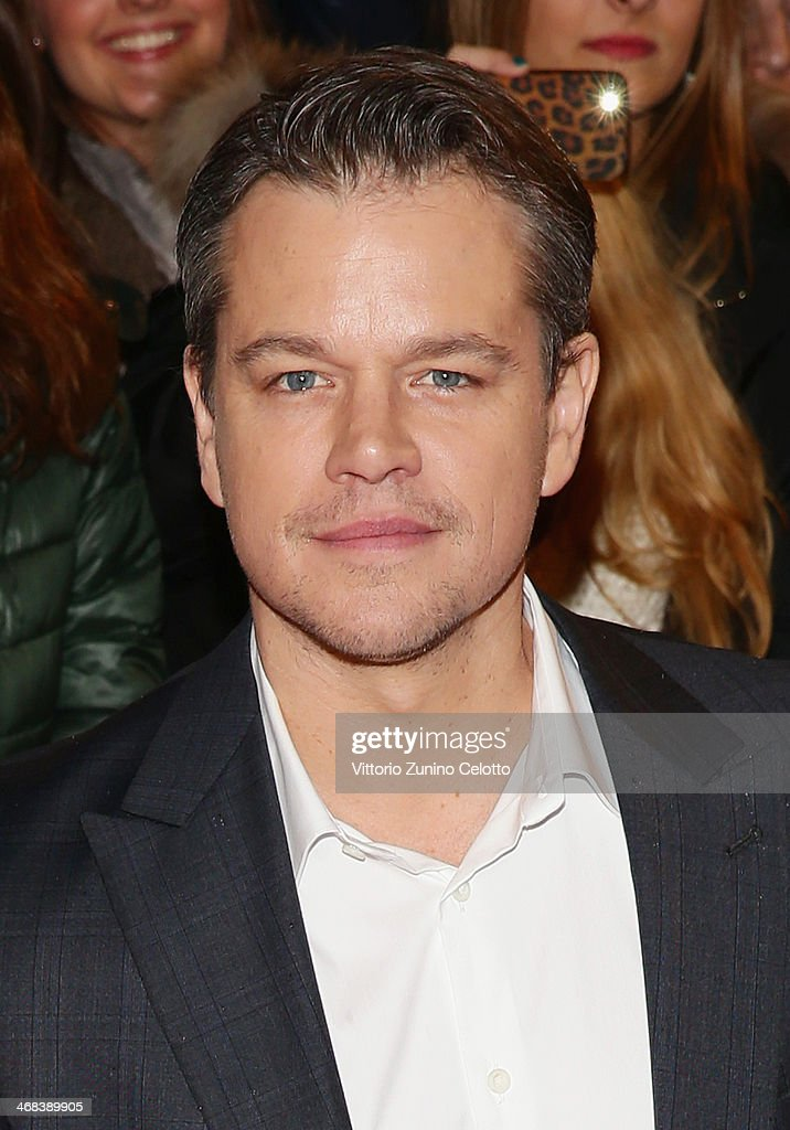 <a gi-track='captionPersonalityLinkClicked' href=/galleries/search?phrase=Matt+Damon&family=editorial&specificpeople=202093 ng-click='$event.stopPropagation()'>Matt Damon</a> attends 'The Monuments Men' Milan Premiere on February 10, 2014 in Milan, Italy.