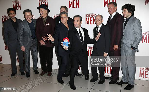 Matt Damon Bill Murray John Goodman George Clooney Jean Dujardin Bob Balaban Hugh Bonneville and Dimitri Leonidas attend the UK premiere of 'The...