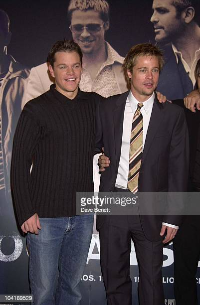 Matt Damon Brad Pitt The Brat Pack Turned Up In London To Launch Their New Movie 'Oceans Ii' At The Dorchester Hotel London