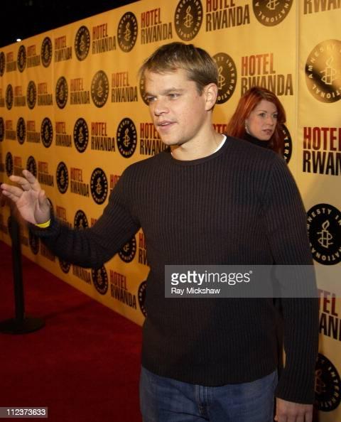 Matt Damon during 'Hotel Rwanda' Los Angeles Premiere Red Carpet at Academy Theater in Los Angeles California United States
