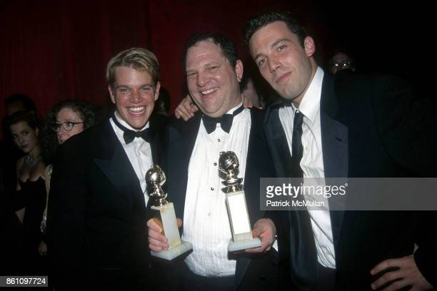 Matt Damon Harvey Weinstein and Ben Affleck attend Annual Golden Globe Awards After Party Hosted by Miramax Films at the Beverly Hilton Hotel on...