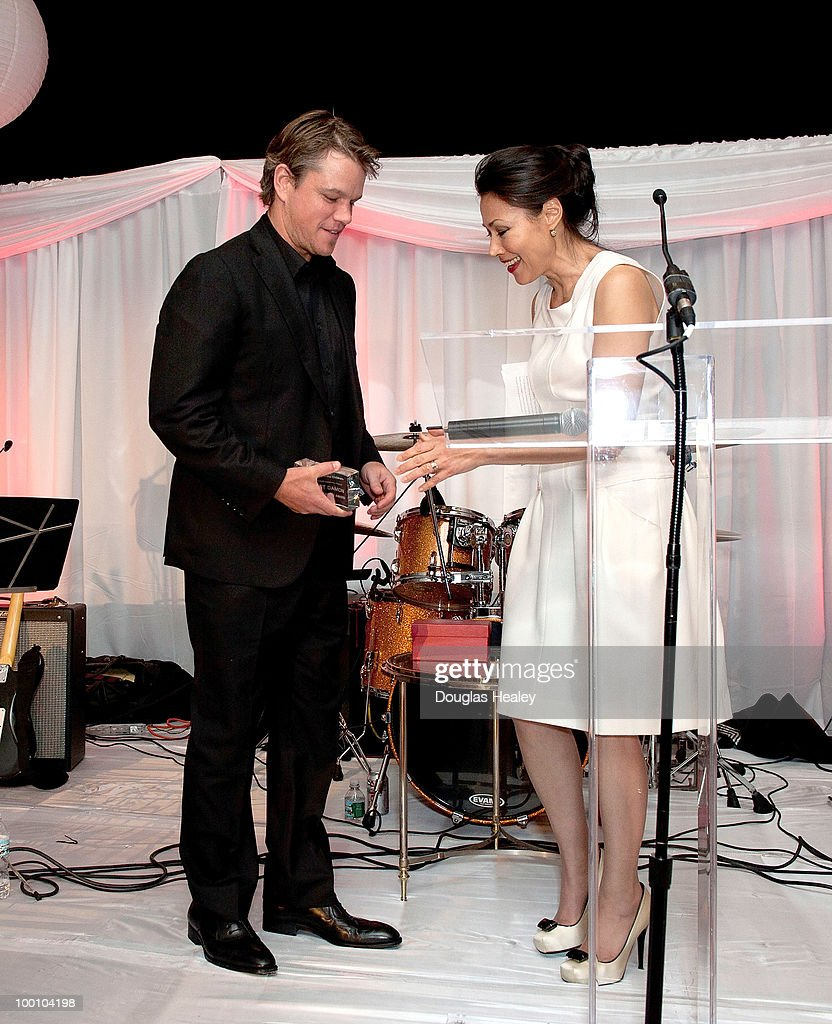 Matt Damon is honored at the Save the Children's 3rd Annual Celebration of Hope by Ann Curry of NBC's Today Show at the Hyatt Regency on May 20, 2010 in Old Greenwich, Connecticut.