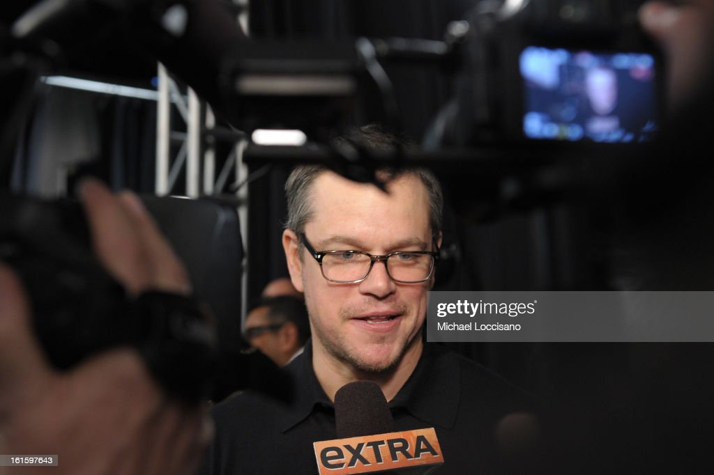 <a gi-track='captionPersonalityLinkClicked' href=/galleries/search?phrase=Matt+Damon&family=editorial&specificpeople=202093 ng-click='$event.stopPropagation()'>Matt Damon</a> is interviewed backstage at the Naeem Khan Fall 2013 fashion show during Mercedes-Benz Fashion Week at The Theatre at Lincoln Center on February 12, 2013 in New York City.