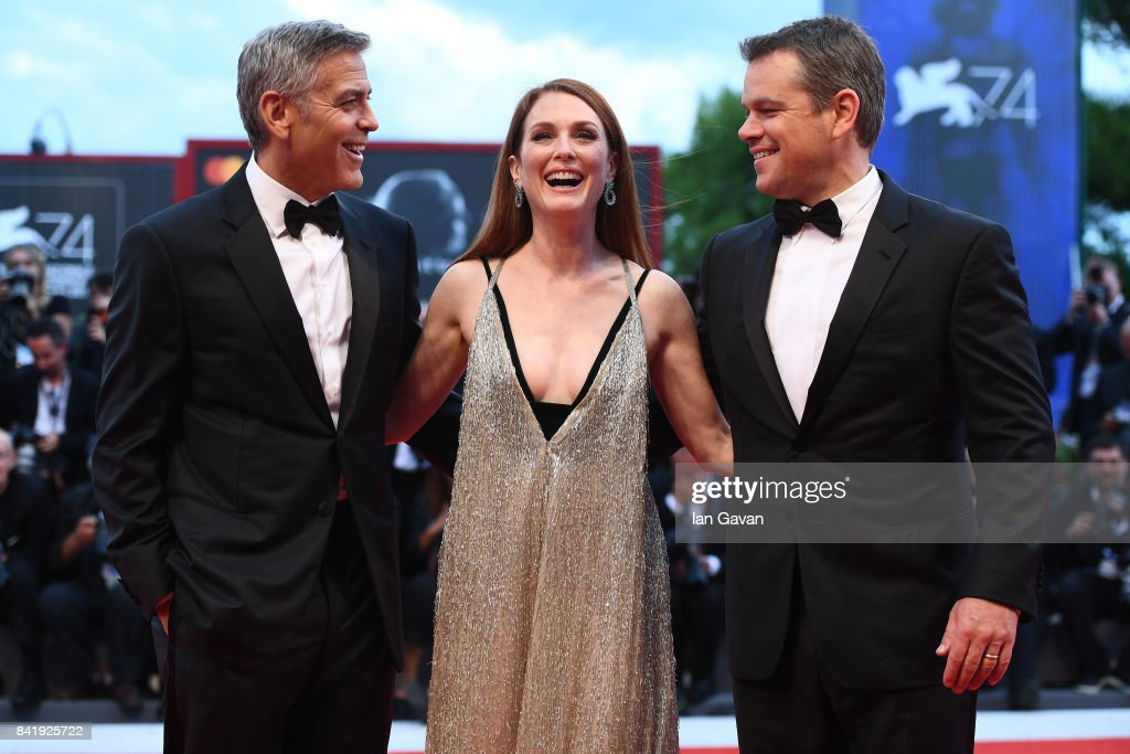 Matt Damon, Julianne Moore and George Clooney walk the red carpet ahead of the 'Suburbicon' screening during the 74th Venice Film Festival at Sala Grande on September 2, 2017 in Venice, Italy.