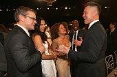 Matt Damon Luciana Barroso Bridgid Coulter Don Cheadle and Brad Pitt attend the 20th Annual Screen Actors Guild Awards at The Shrine Auditorium on...