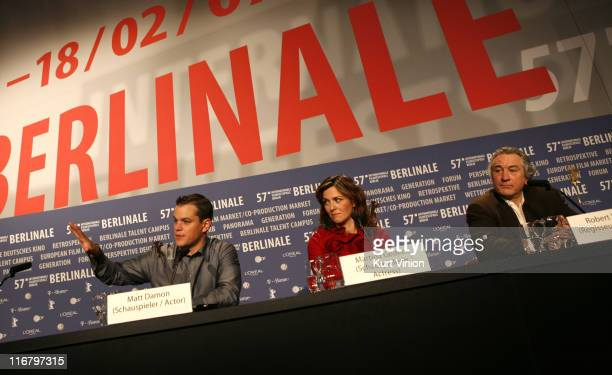 Matt Damon Martina Gedeck and Robert De Niro during The 57th Berlinale International Film Festival 'The Good Shepherd' Press Conference