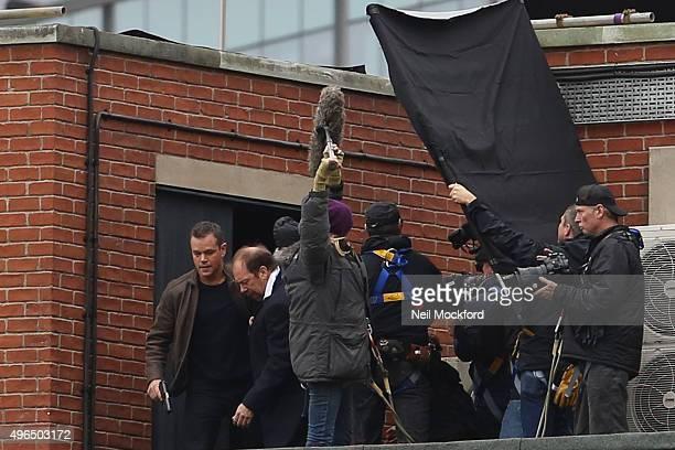 Matt Damon seen filming Bourne 5 in Paddington on November 10 2015 in London England