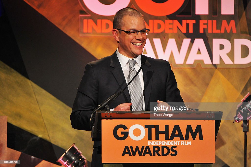 <a gi-track='captionPersonalityLinkClicked' href=/galleries/search?phrase=Matt+Damon&family=editorial&specificpeople=202093 ng-click='$event.stopPropagation()'>Matt Damon</a> speaks onstage at the IFP's 22nd Annual Gotham Independent Film Awards at Cipriani Wall Street on November 26, 2012 in New York City.