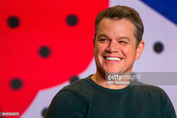 Matt Damon takes questions during the press conference for 'Downsizing' at the Toronto International Film Festival in Toronto Ontario on September 10...