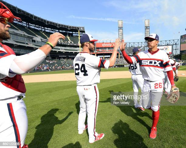 Matt Davidson and Avisail Garcia of the Chicago White Sox celebrate after the game against the Tampa Bay Rays on September 3 2017 at Guaranteed Rate...