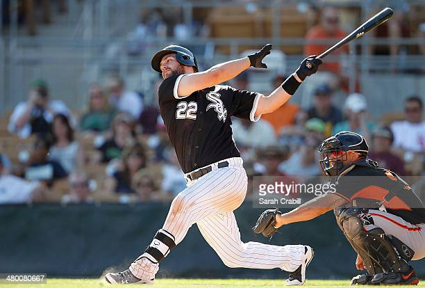 Matt Davidson of the Chicago White Sox bats during a game against the San Francisco Giants at Camelback Ranch on March 22 2014 in Glendale Arizona...