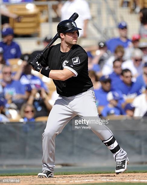 Matt Davidson of the Chicago White Sox bats during the game against the Los Angeles Dodgers on February 28 2014 at The Ballpark at Camelback Ranch in...