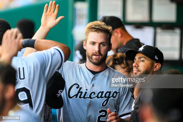 Matt Davidson of the Chicago White Sox celebrates scoring a run against the Kansas City Royals during the second inning at Kauffman Stadium on July...