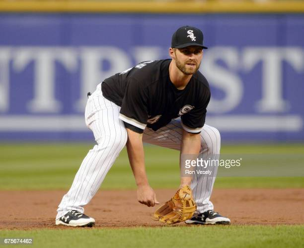 Matt Davidson of the Chicago White Sox fields against the Kansas City Royals on April 25 2017 at Guaranteed Rate Field in Chicago Illinois The White...
