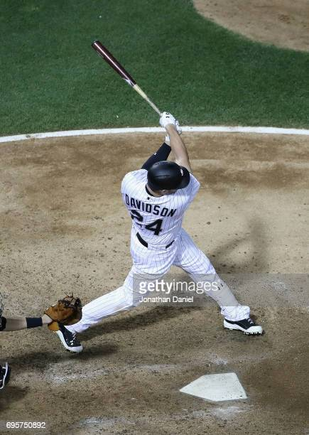 Matt Davidson of the Chicago White Sox hits a grand slam home run in the 6th inning against the Baltimore Orioles at Guaranteed Rate Field on June 13...