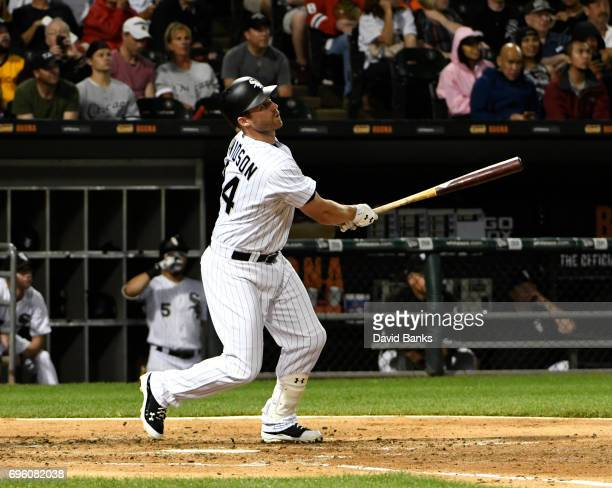 Matt Davidson of the Chicago White Sox hits a home run against the Baltimore Orioles during the second inning on June 14 2017 at Guaranteed Rate...