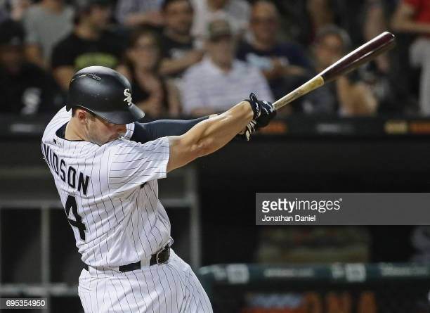 Matt Davidson of the Chicago White Sox hits a solo home run in the 7th inning against the Baltimore Orioles at Guaranteed Rate Field on June 12 2017...