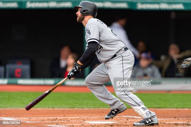 Matt Davidson of the Chicago White Sox hits a three run home run during the first inning against the Cleveland Indians at Progressive Field on April...