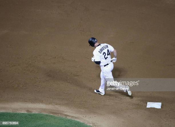 Matt Davidson of the Chicago White Sox runs the bases after hitting a grand slam home run in the 6th inning against the Baltimore Orioles at...
