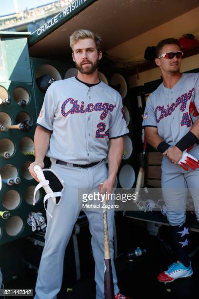 Matt Davidson of the Chicago White Sox stands in the dugout prior to the game against the Oakland Athletics at the Oakland Alameda Coliseum on July 3...