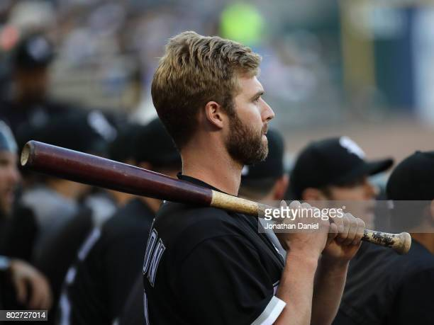 Matt Davidson of the Chicago White Sox watches from the dugout as his teammates take on the New York Yankees at Guaranteed Rate Field on June 27 2017...