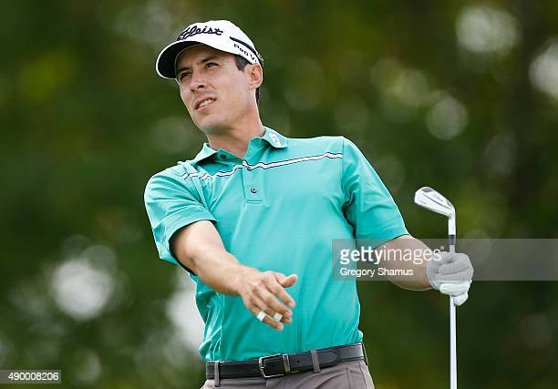 Matt Davidson watches his drive on the 13th hole during the second round of the Webcom Tour Nationwide Children's Hospital Championship at The Ohio...