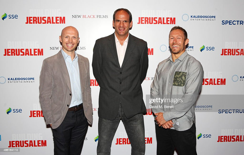 Matt Dawson Martin Johnson and Jonny Wilkinson attend the World Premiere of 'Building Jerusalem' at the Empire Leicester Square on September 1 2015...