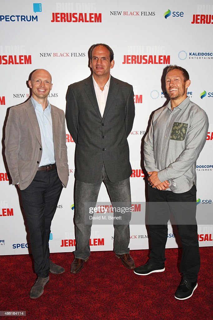 Matt Dawson, Martin Johnson and Jonny Wilkinson attend the World Premiere of 'Building Jerusalem' at the Empire Leicester Square on September 1, 2015 in London, England.
