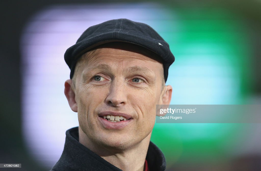 Matt Dawson the former England international now BT Sport rugby pundit looks on during the Aviva Premiership match between Harlequins and Bath at the...