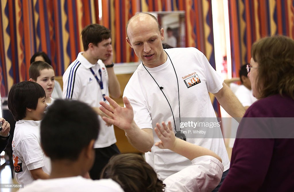 Matt Dawson visiting Vaughan Primary School in Harrow as part of Sainsbury's Active Kids 2013 scheme an initiative set up by the supermarket to...