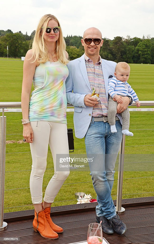 Matt Dawson with wife Carolin Dawson and baby Sam attend day two of the Audi Polo Challenge at Coworth Park Polo Club on June 1 2014 in Ascot England