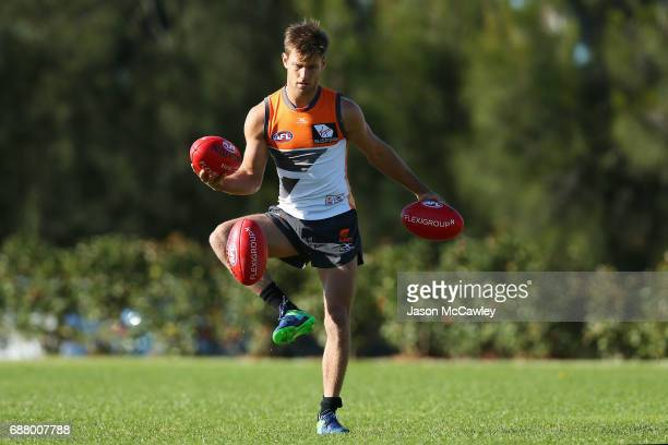 Matt de Boer of the Giants during a Greater Western Sydney Giants AFL training session at Sydney Olympic Park Sports Centre on May 25 2017 in Sydney...