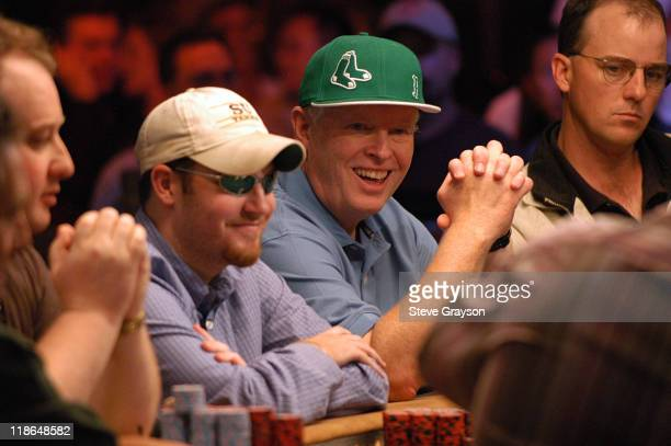 Matt Dean and Dan Harrington look over the table in the final round of the 2004 World Series of Poker at Binion's Horseshoe Club and Casino in Las...