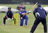 Matt Dean of England hits out during the 3rd ODI match between England Blind Squad and Australia Blind Squad at Warwick School on June 2 2012 in...