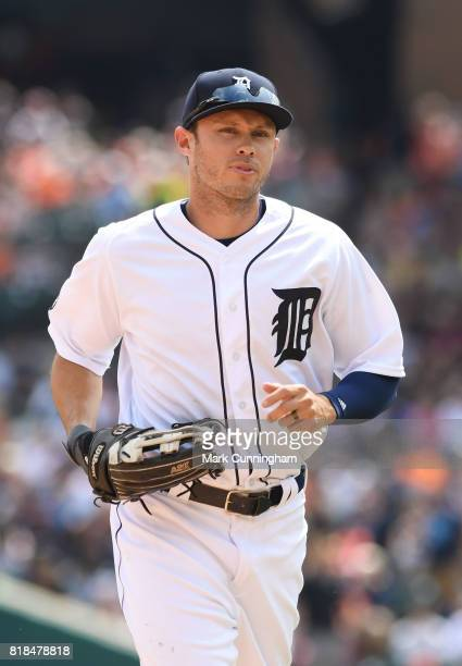 Matt den Dekker of the Detroit Tigers looks on during the game against the Kansas City Royals at Comerica Park on June 29 2017 in Detroit Michigan...