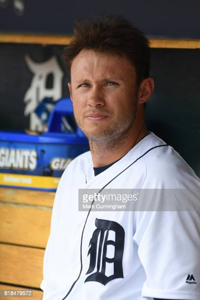 Matt den Dekker of the Detroit Tigers looks on from the dugout during the game against the Kansas City Royals at Comerica Park on June 29 2017 in...