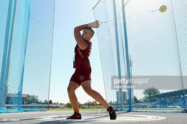 Matt Denny of Australia competes in the Men's Hammer Throw during the IAAF Melbourne World Challenge at Lakeside Stadium on March 21 2015 in...
