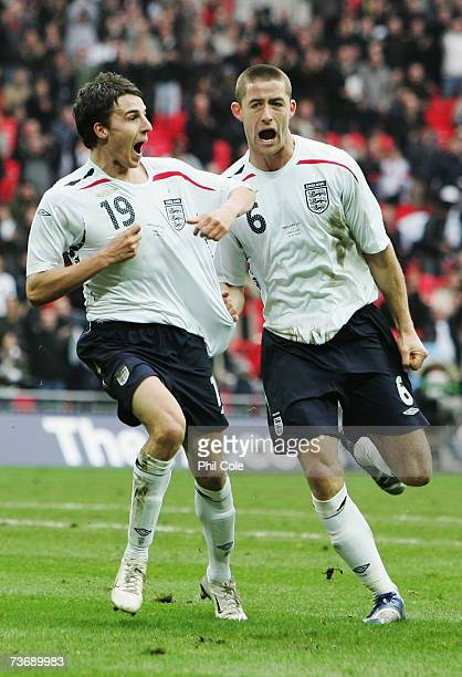Matt Derbyshire of England celebrates with Gary Cahill as he scores their third during the U21 International Friendly match between England and Italy...