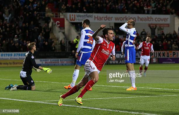 Matt Derbyshire of Rotherham celebrates scoring the opening goal past Mikkel Andersen Goalkeeper of Reading during the Sky Bet Championship match...