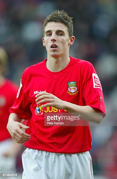 Matt Derbyshire of Wrexham in action during the Coca Cola league Two match between Wrexham and Northampton Two at the Racecourse ground on February...
