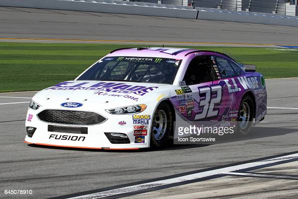 Matt DiBendetto driver of the CanAm Ford during practice for the NASCAR Monster Energy Cup Series Daytona 500 on February 24 at the Daytona...