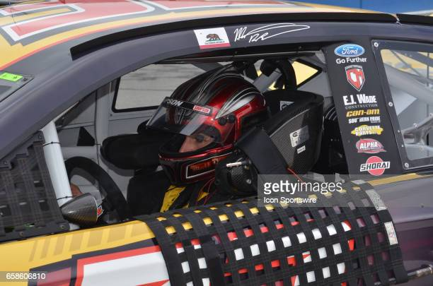 Matt DiBenedetto CanAm/Kappa Ford sitting in race car before start of race at the NASCAR Monster Energy Cup Series Auto Club 400 on March 26 2017 at...