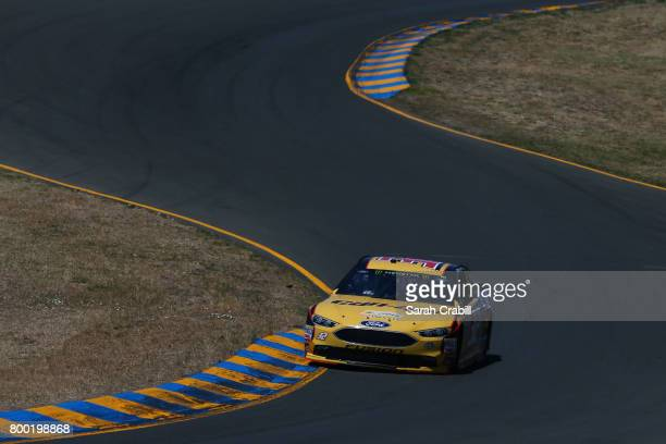 Matt DiBenedetto driver of the CanAm/Kappa Ford drives during practice for the Monster Energy NASCAR Cup Series Toyota/Save Mart 350 at Sonoma...