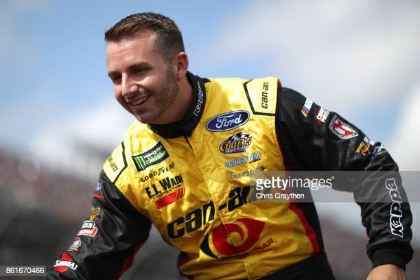 Matt DiBenedetto driver of the CanAm/Kappa Ford is introduced prior to the Monster Energy NASCAR Cup Series Alabama 500 at Talladega Superspeedway on...