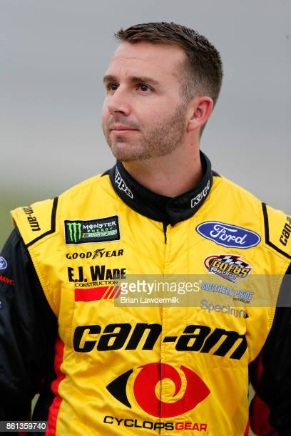 Matt DiBenedetto driver of the CanAm/Kappa Ford looks on during qualifying for the Monster Energy NASCAR Cup Series Alabama 500 at Talladega...