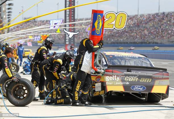 Matt DiBenedetto driver of the CanAm/Kappa Ford pits during the Monster Energy NASCAR Cup Series Auto Club 400 at Auto Club Speedway on March 26 2017...